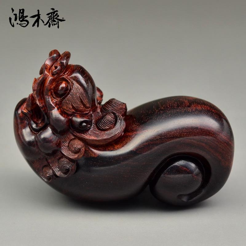 鸿木斋 黄花梨木裸体貔貅 海黄百吉雕刻 手把件 孤品 H4928 (2).JPG