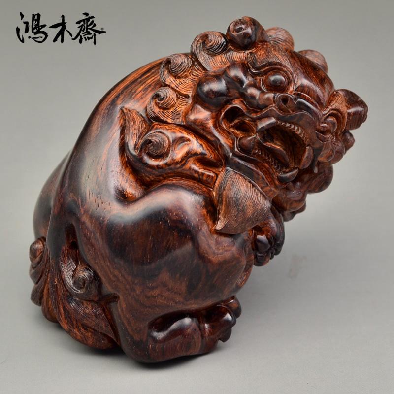 鸿木斋 海黄百吉雕刻 狮子 黄花梨 手把件 孤品 H4932 (2).JPG