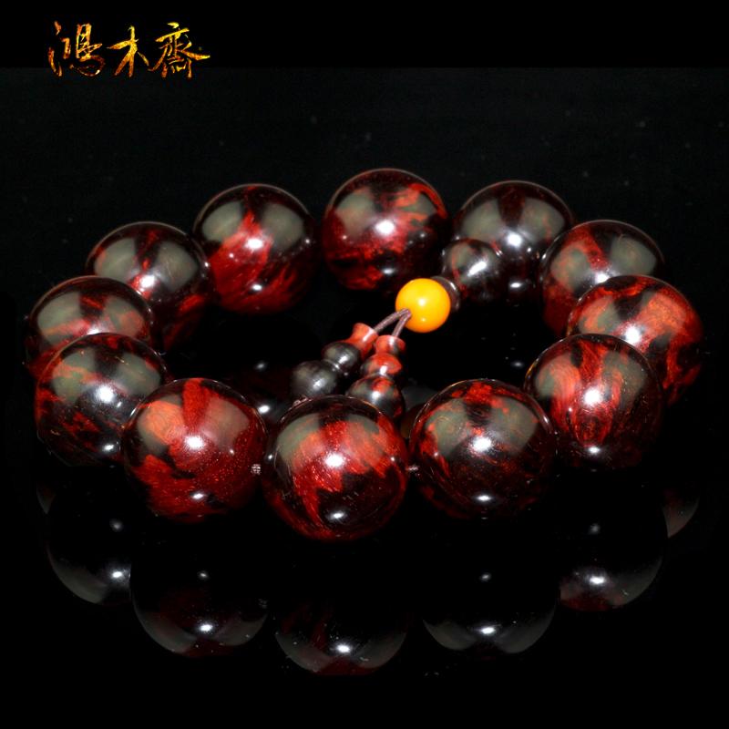 鸿木斋 小叶紫檀手串 火焰纹 瘤疤料 高密度紫檀手链 孤品 Z996 (7).JPG