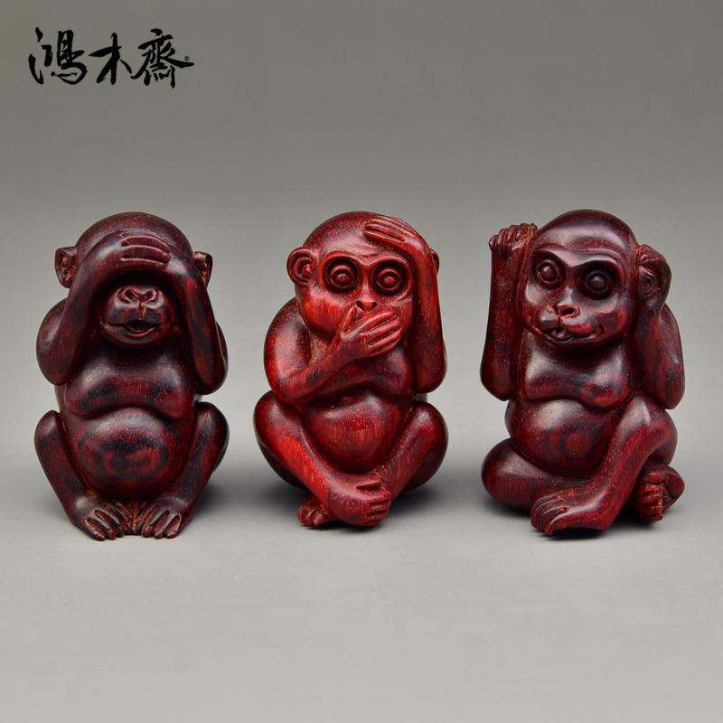鸿木斋 紫檀雕刻石争款 坐三不猴 小叶紫檀带金星 手把件 Z1043 (2).JPG