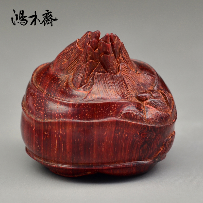 鸿木斋 印度小叶紫檀雕刻 马蹄莲 带金星 手把件 Z1046 (2).JPG
