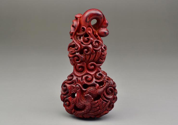 鸿木斋 印度小叶紫檀雕刻 石争款镂空龙凤葫芦 带金星