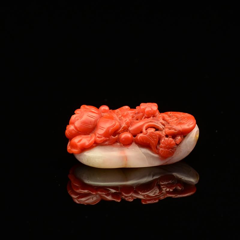 鸿木斋 天然保山南红玛瑙雕刻 单角貔貅 南红手把件 孤品zj01-zj06