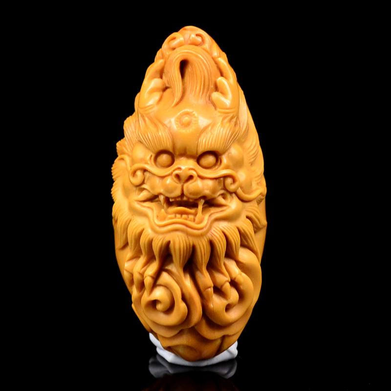 鸿款雕刻 橄榄核雕神兽 单籽大核 橄榄核手把件 孤品 G110 (2).JPG