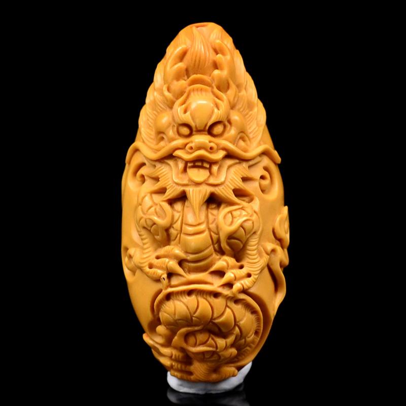 鸿款雕刻 橄榄核雕云龙 单籽超大核 橄榄核手把件 孤品 G111 (2).JPG