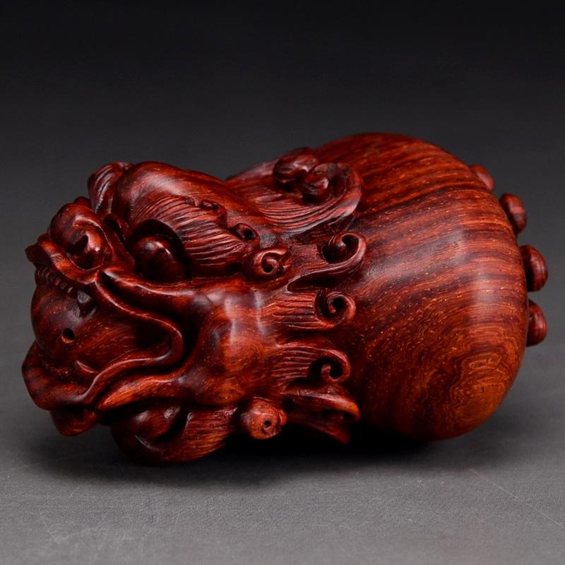 鸿木斋小叶紫檀手把件东艺款紫檀雕刻2寸双面貔貅HZ29 (2).JPG