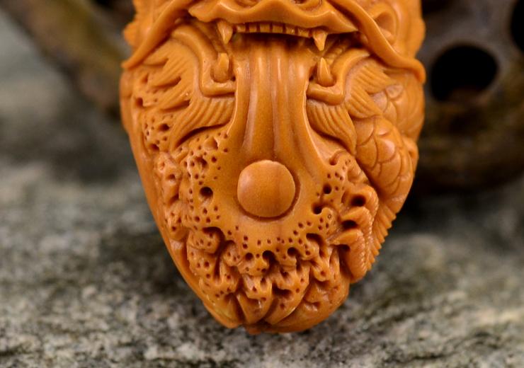 鸿木斋橄榄核雕龙吐珠单籽大核橄榄核手把件孤品G118 (10).JPG