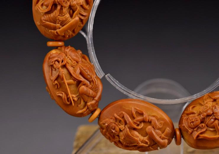 鸿木斋橄榄核雕手串橄榄核雕刻八宝观音橄榄核手链孤品N2360 (8).JPG