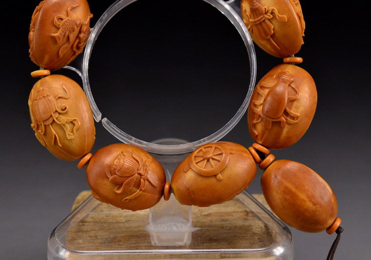 鸿木斋橄榄核雕手串橄榄核雕刻八宝观音橄榄核手链孤品N2360 (16).JPG