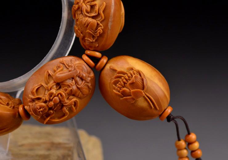 鸿木斋橄榄核雕手串橄榄核雕刻八宝观音橄榄核手链孤品N2360 (13).JPG