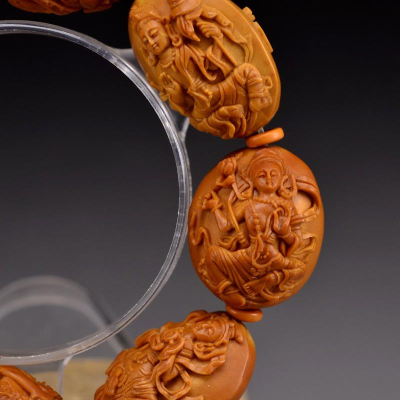 鸿木斋橄榄核雕手串橄榄核雕刻八宝观音橄榄核手链孤品N2360 (6).JPG