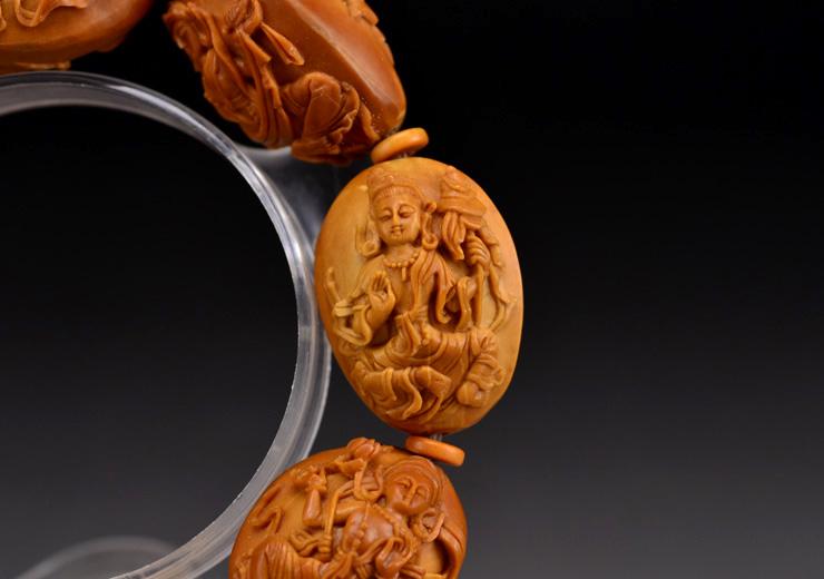 鸿木斋橄榄核雕手串橄榄核雕刻八宝观音橄榄核手链孤品N2360 (11).JPG