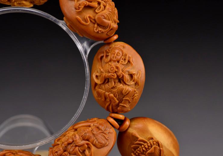 鸿木斋橄榄核雕手串橄榄核雕刻八宝观音橄榄核手链孤品N2360 (12).JPG
