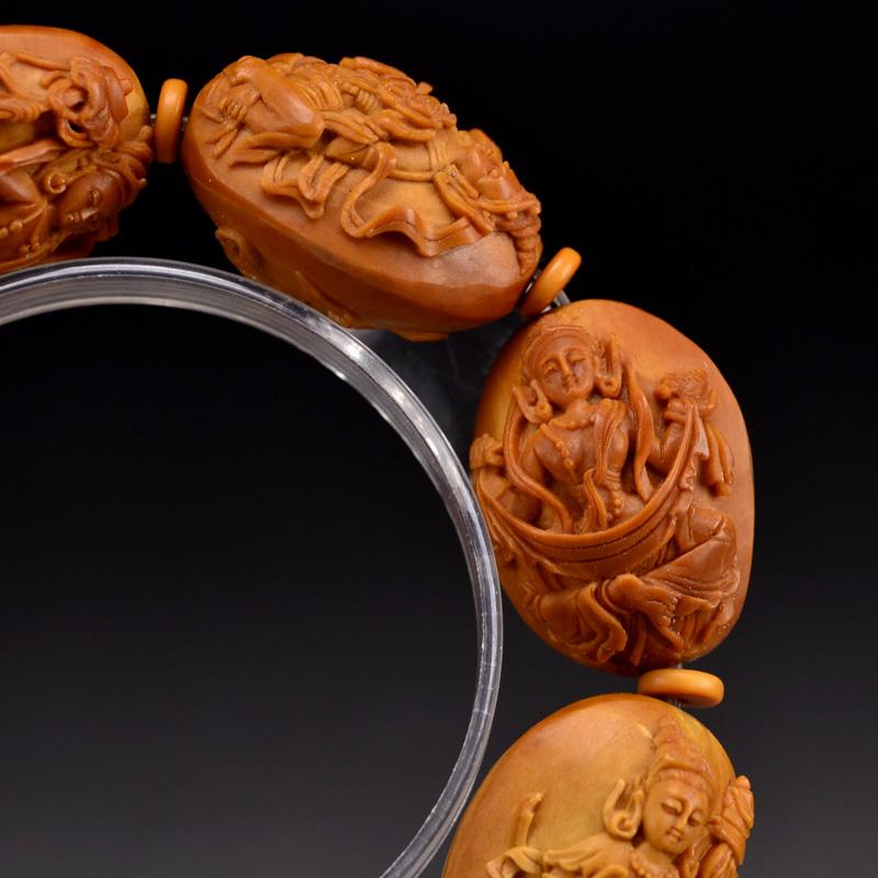 鸿木斋橄榄核雕手串橄榄核雕刻八宝观音橄榄核手链孤品N2360 (5).JPG
