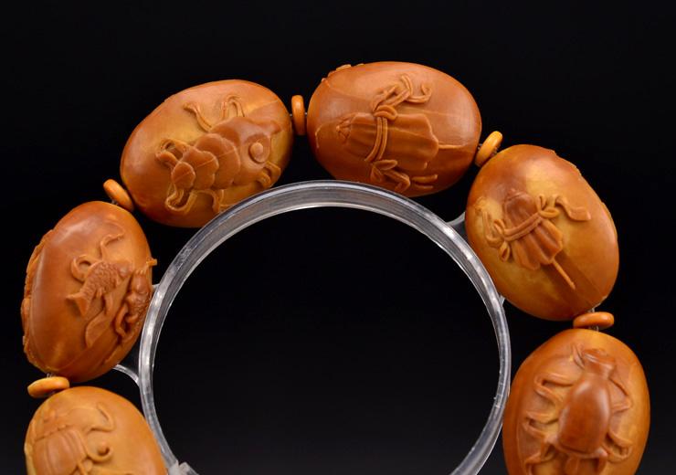 鸿木斋橄榄核雕手串橄榄核雕刻八宝观音橄榄核手链孤品N2360 (15).JPG