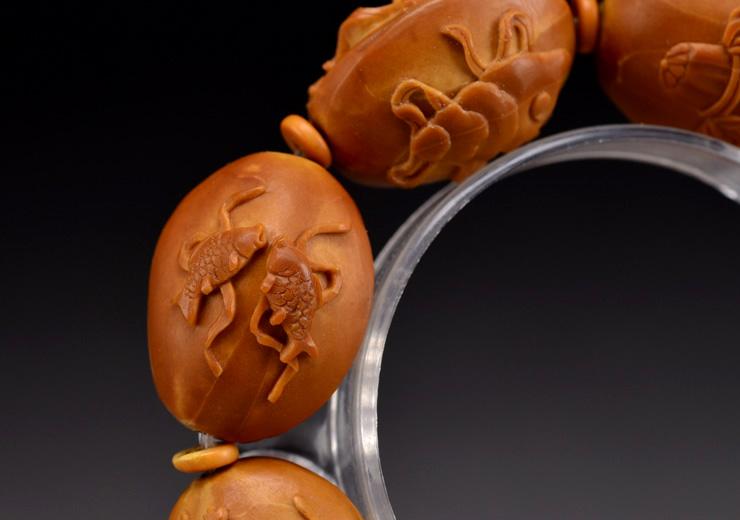 鸿木斋橄榄核雕手串橄榄核雕刻八宝观音橄榄核手链孤品N2360 (17).JPG