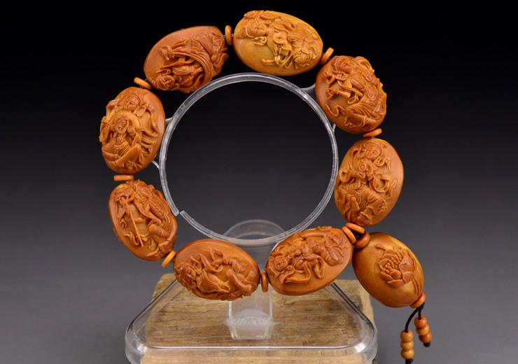鸿木斋橄榄核雕手串橄榄核雕刻八宝观音橄榄核手链孤品N2360 (7).JPG