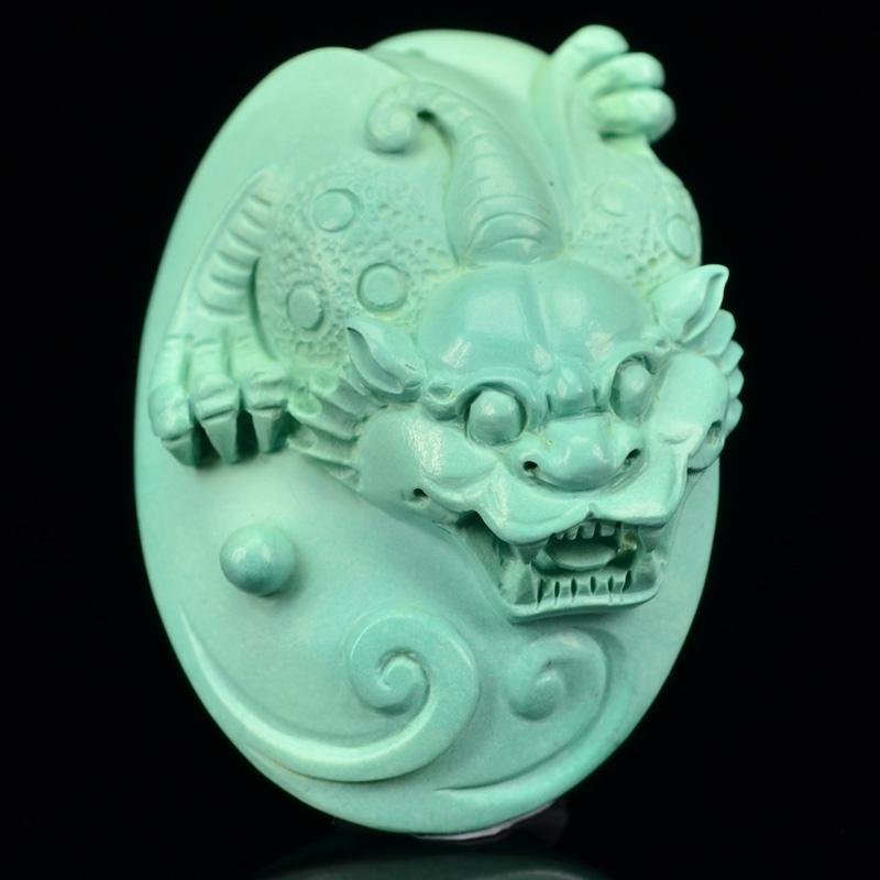 鸿木斋 松石精雕手把件 天然湖北高瓷蓝 绿松石吊坠 孤品CS03 (2).JPG