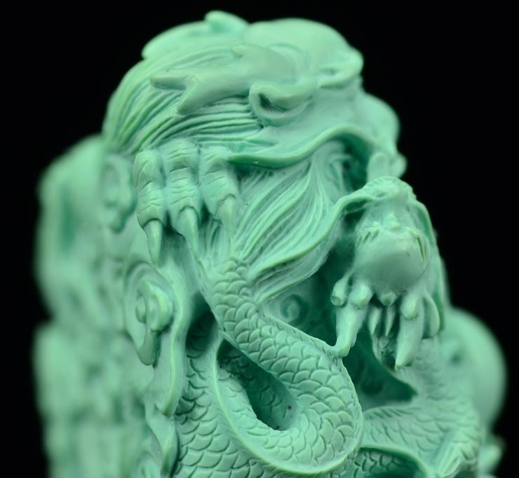 鸿木斋 天然绿松石雕刻龙戏珠 湖北高瓷蓝 松石挂坠 孤品CS16 (17).JPG