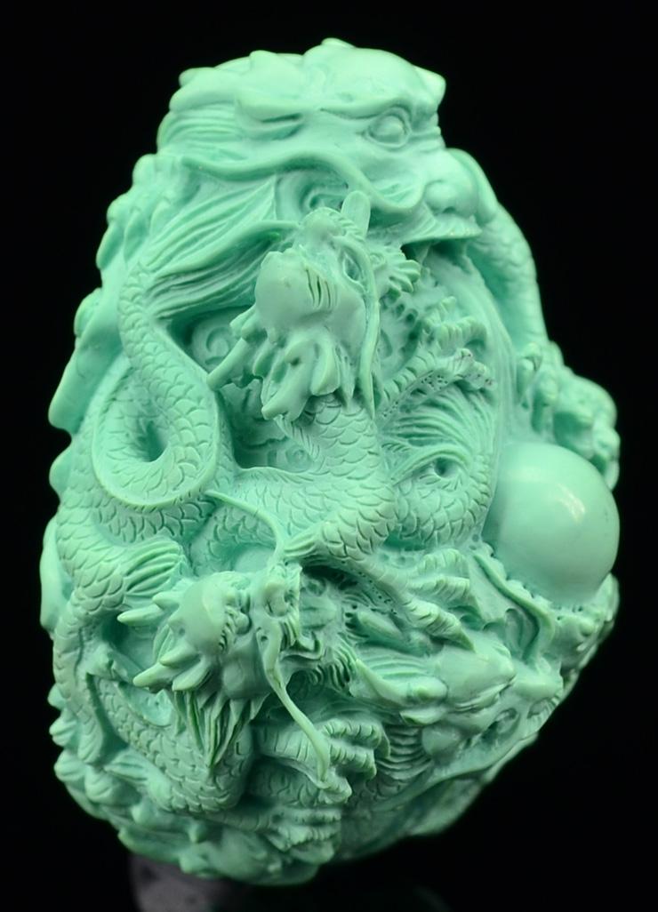 鸿木斋 天然绿松石雕刻龙戏珠 湖北高瓷蓝 松石挂坠 孤品CS16 (8).JPG