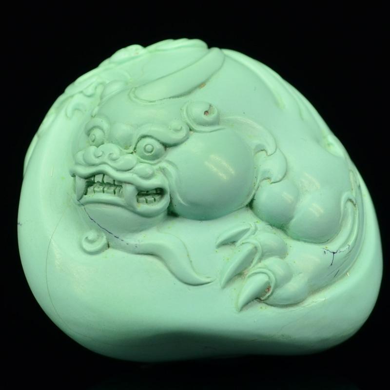 鸿木斋 天然绿松石雕刻貔貅 湖北高瓷蓝 松石挂坠 孤品CS18 (2).JPG