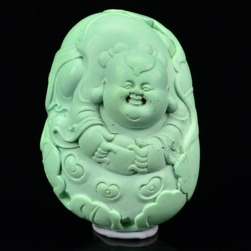 鸿木斋 天然绿松石雕刻 湖北高瓷蓝 松石挂坠 孤品CS19 (2).JPG