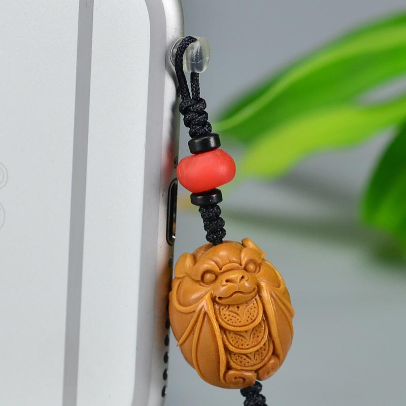 鸿木斋 橄榄核雕 橄榄核雕刻福 手机挂坠 孤品G148 (2).JPG