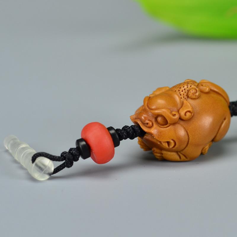 鸿木斋 橄榄核雕 橄榄核雕刻貔貅 老油铁核 手机挂坠