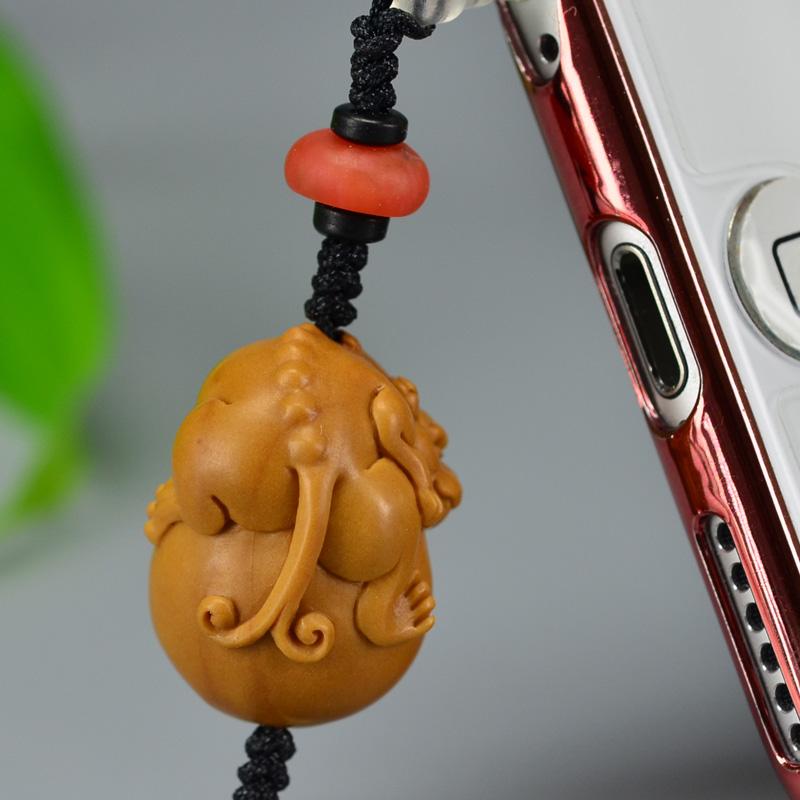 鸿木斋 橄榄核雕 橄榄核雕刻貔貅 手机挂坠 孤品G150 (6).JPG