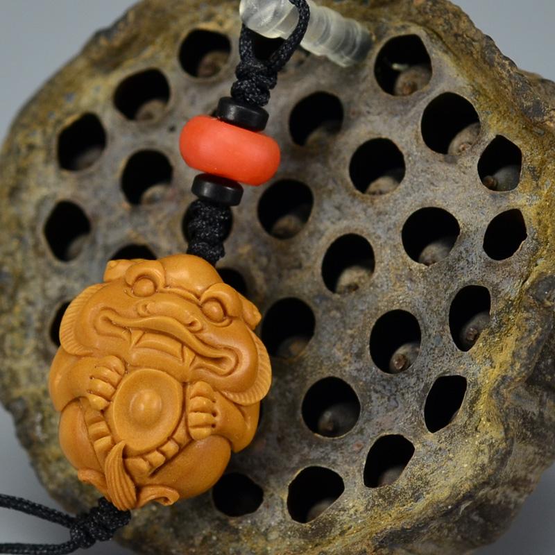 鸿木斋 橄榄核雕 橄榄核雕刻貔貅 手机挂坠 孤品G153 (2) - 副本.JPG