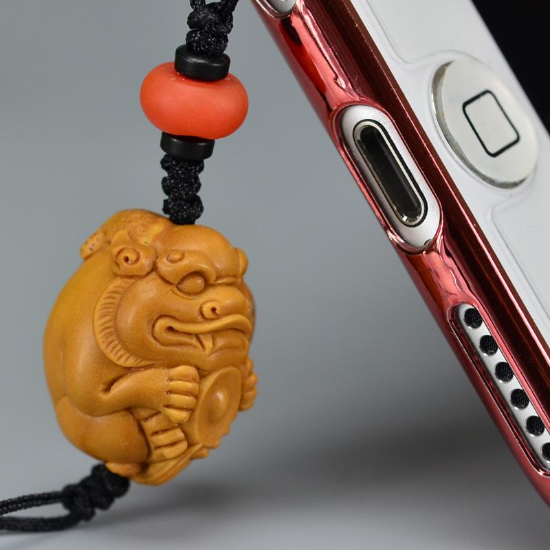 鸿木斋 橄榄核雕 橄榄核雕刻貔貅 手机挂坠 孤品g153