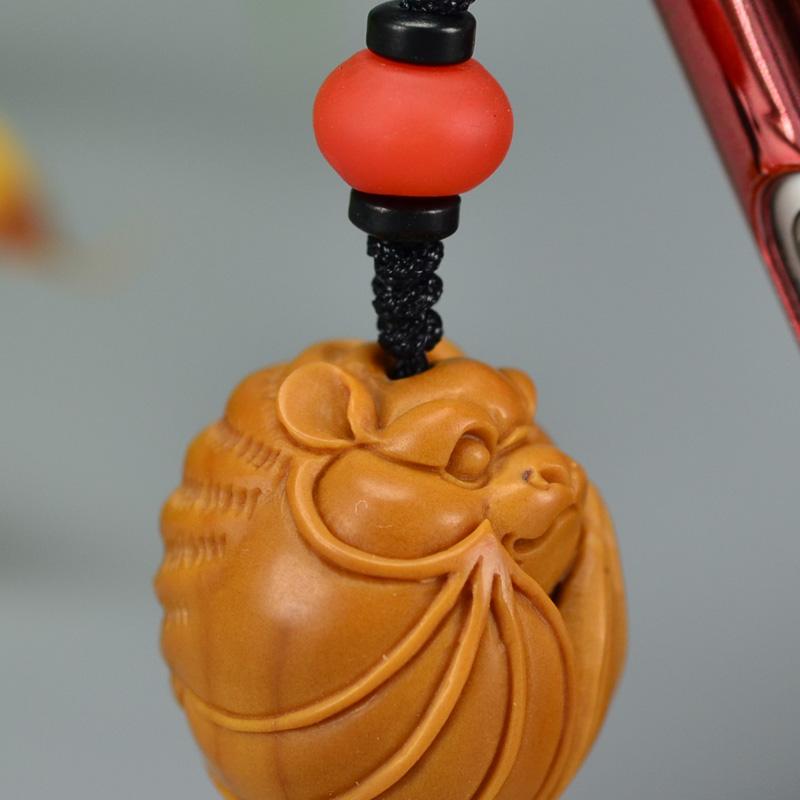 鸿木斋 橄榄核雕 橄榄核雕刻福 手机挂坠 孤品G155 (6).JPG
