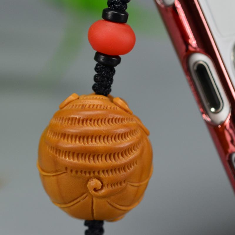 鸿木斋 橄榄核雕 橄榄核雕刻福 手机挂坠 孤品G155 (5).JPG