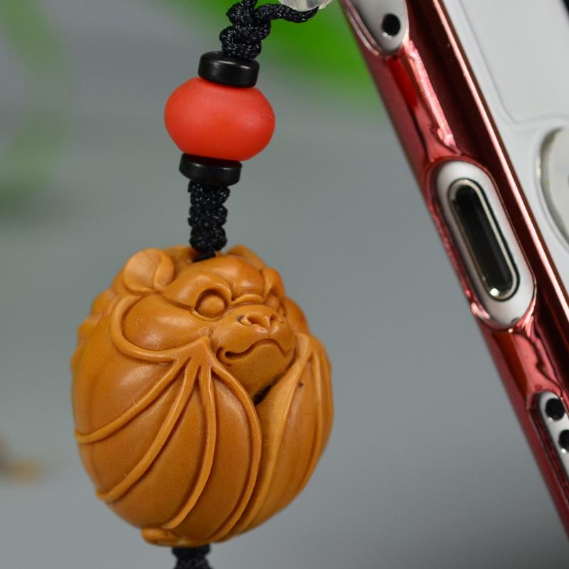 鸿木斋 橄榄核雕 橄榄核雕刻福 手机挂坠 孤品G155 (4).JPG