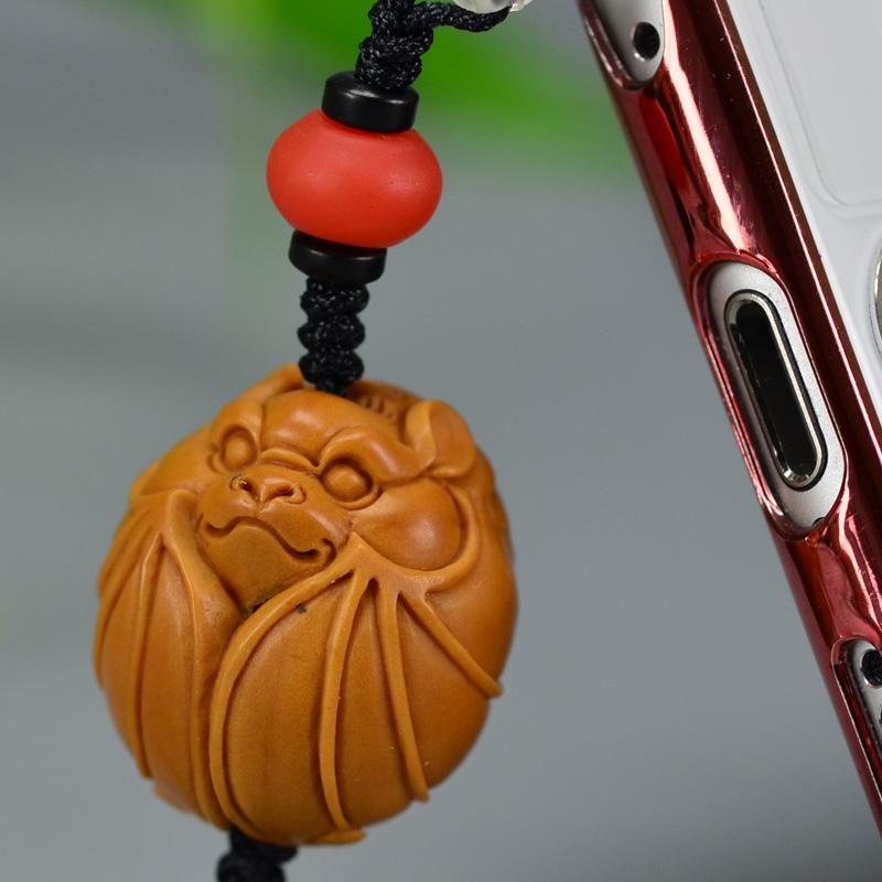 鸿木斋 橄榄核雕 橄榄核雕刻福 手机挂坠 孤品G155 (3).JPG