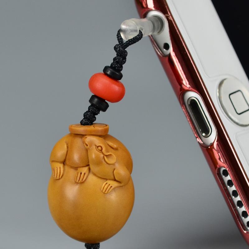 鸿木斋 橄榄核雕 橄榄核雕刻鼠 手机挂坠 孤品G156 (2).JPG