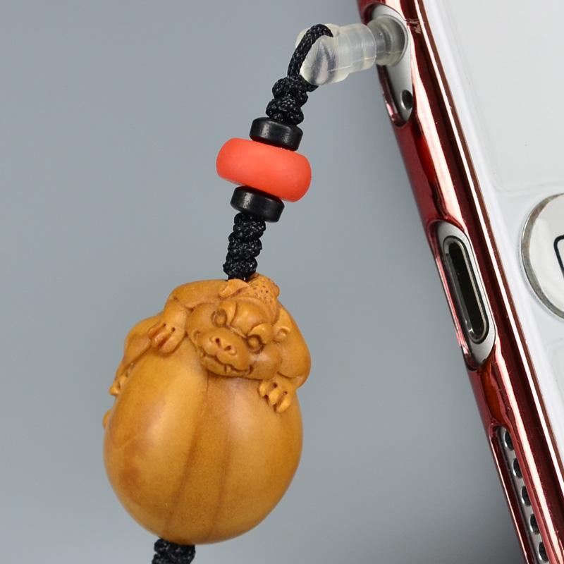 鸿木斋 橄榄核雕 橄榄核雕刻螭虎 手机挂坠 孤品G160 (2).JPG