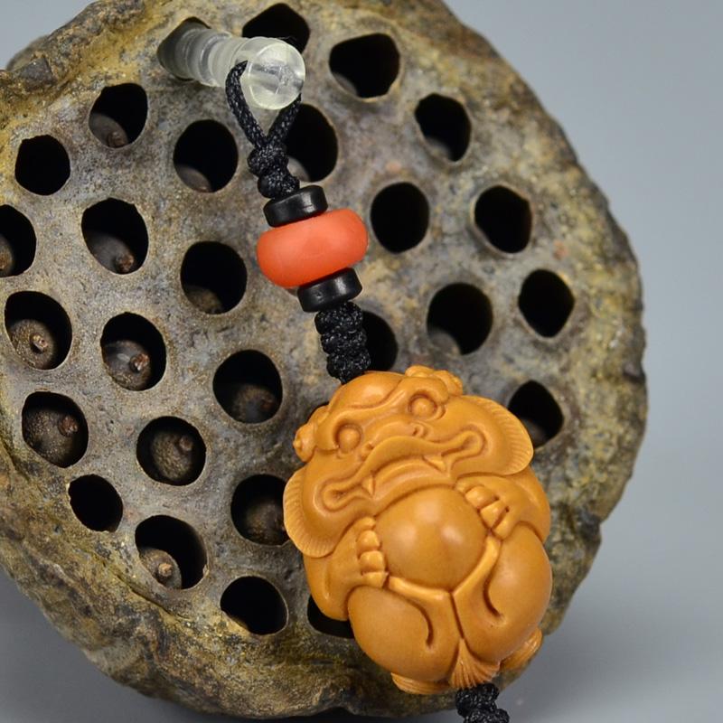 鸿木斋 橄榄核雕 橄榄核雕刻貔貅 手机挂坠 孤品G159 (2).JPG