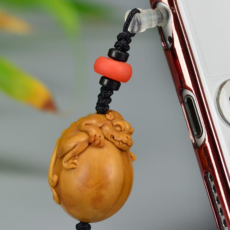 鸿木斋 橄榄核雕 橄榄核雕刻螭虎 手机挂坠 孤品G160 (5).JPG