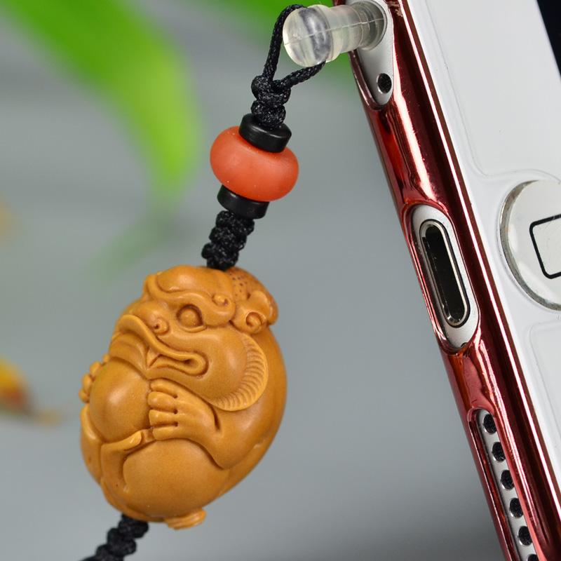 鸿木斋 橄榄核雕 橄榄核雕刻貔貅 手机挂坠 孤品G159 (5).JPG