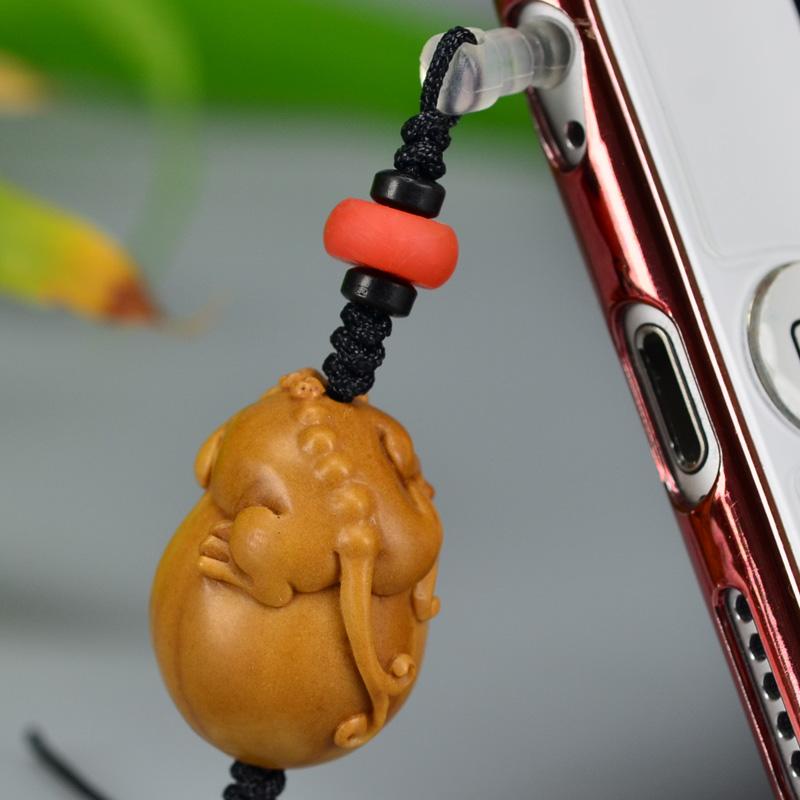 鸿木斋 橄榄核雕 橄榄核雕刻螭虎 手机挂坠 孤品G160 (6).JPG