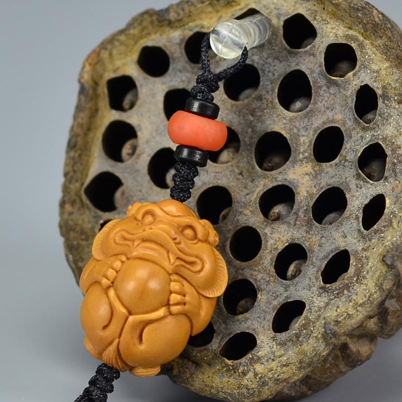 鸿木斋 橄榄核雕 橄榄核雕刻貔貅 手机挂坠 孤品G159 (3).JPG