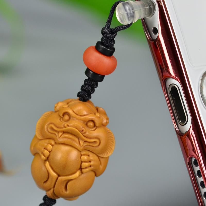 鸿木斋 橄榄核雕 橄榄核雕刻貔貅 手机挂坠 孤品G159 (4).JPG