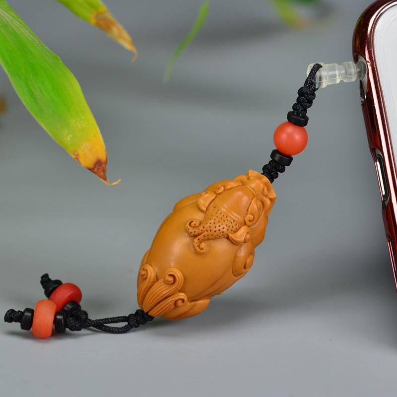 鸿木斋 橄榄核雕 08年老油铁核貔貅手机挂坠 孤品G178 (4) .JPG