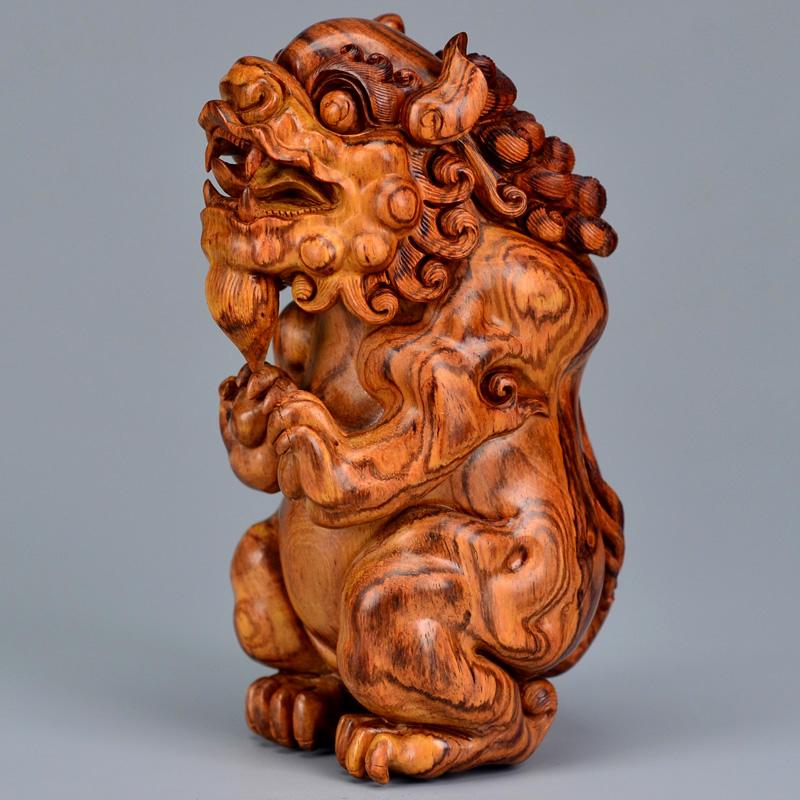 鸿木斋 海南黄花梨大把件 鸿款雕刻3寸半站狮H6356 (5).JPG