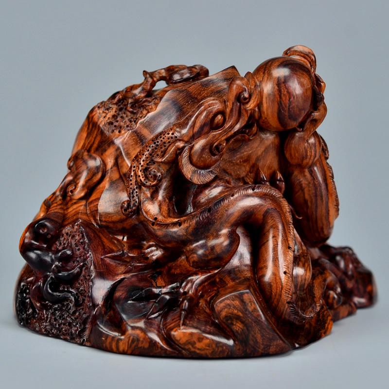 鸿木斋 黄花梨雕刻 鸿款雕刻4寸双螭龙戏珠 H6358 (3) .JPG