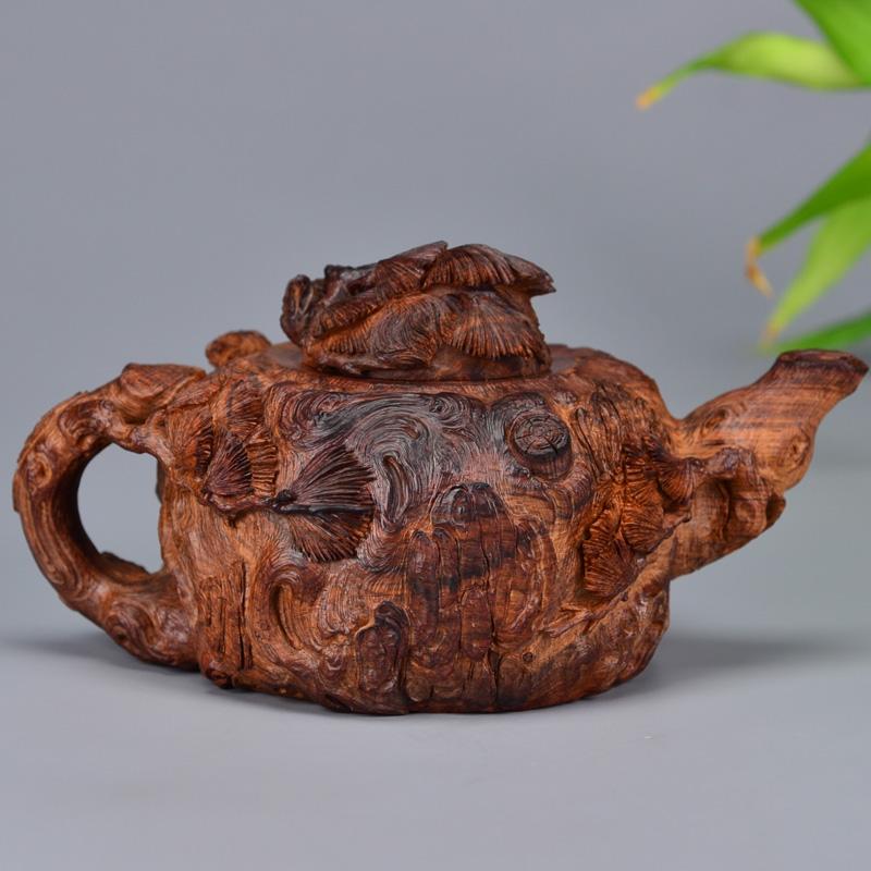 鸿木斋 海黄手把件 松马鼠雕刻茶壶 H6486 (5).JPG