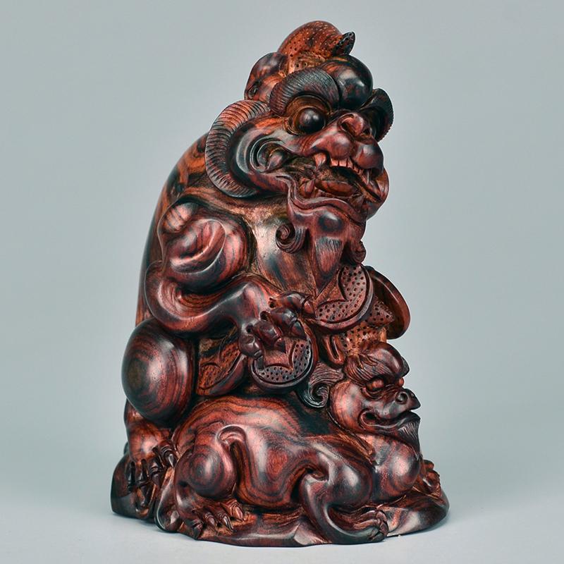 鸿木斋 黄花梨雕刻 3寸母子貔貅 H6518 (2).JPG