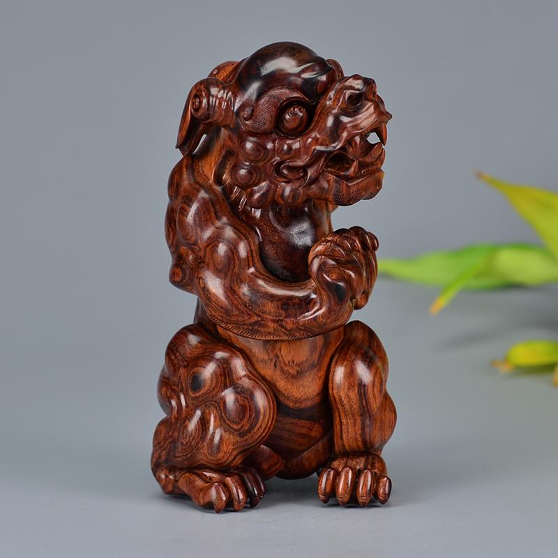 鸿木斋 海南黄花梨摆件 鸿款雕刻4寸飞熊入梦 H6567 (2).JPG