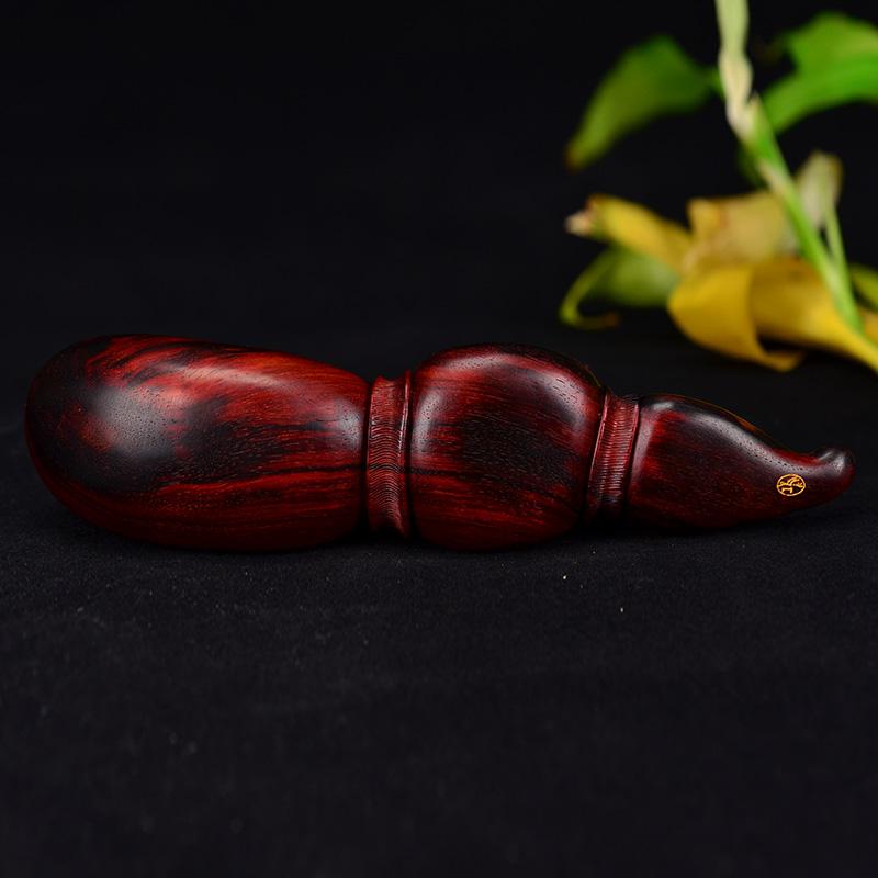鸿木斋 紫檀手把件 鸿款雕刻4寸半金蟾茶勺HZ123 (6) .JPG